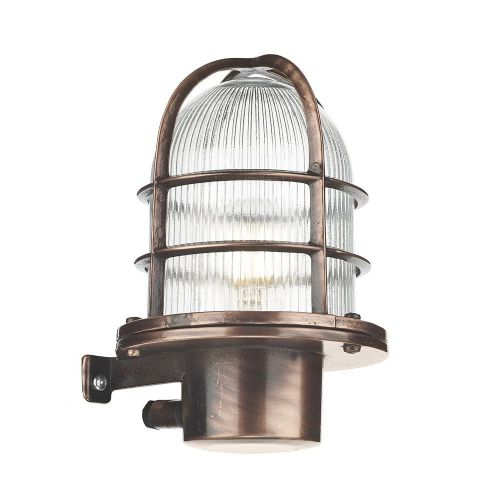 David Hunt Lighting, Pier Caged Antique Copper Wall Light IP64, PIE1664 (7-10 day Delivery)